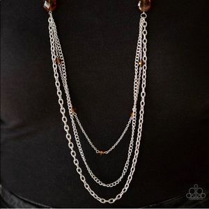 Glassy Brown Bead Necklace Earrings NWT